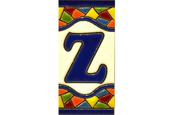 "(LETTER ""Z"") - House letters 7.6cm . Handpainted house letter tiles for signs, addresses and names. Address numbers for houses. House address numbers and letters. Design Design MOSAICO MINI 7.3cm x 3.5cm (LETTER Z)"