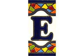 """(LETTER """"E"""") - House letters 7.6cm . Handpainted house letter tiles for signs, addresses and names. Address numbers for houses. House address numbers and letters. Design Design MOSAICO MINI 7.3cm x 3.5cm (LETTER E)"""
