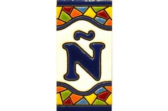 "(LETTER ""Ñ"") - House letters 7.6cm . Handpainted house letter tiles for signs, addresses and names. Address numbers for houses. House address numbers and letters. Design Design MOSAICO MINI 7.3cm x 3.5cm (LETTER Ñ)"