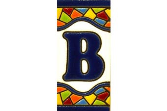 """(LETTER """"B"""") - Handpainted polichrome ceramic tiles. letters and numbers handpainted using dry rope technique perfect to create signs,addresses and names. Design MOSAICO MINI 7.3cm x 3.5cm"""