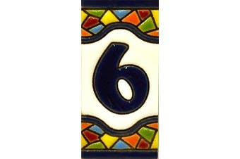 """(NUMBER SIX """"6"""") - Handpainted polichrome ceramic tiles. letters and numbers handpainted using dry rope technique perfect to create signs,addresses and names. Make your own composition. Design MOSAICO MINI 7.3cm x 3.5cm (NUMBER 6)"""