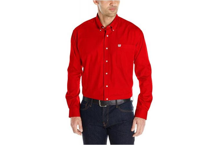 (Large, Red) - Cinch Men's Classic Fit Long Sleeve Button One Open Pocket Solid Basic
