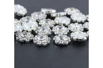 (flat) - Wholesale 24PCS 16MM Small Clear Rhinestone Buttons Metal Crystal Glass Button Embellishments(Flatback)