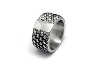 Chryssa Youree Men's Retro Design Jewellery Wedding Band Woven Titanium Steel Silver Rings 7 to 12(DJZ-1) (size 9)