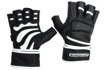 (Large, Black/White) - Contraband Black Label 5990 Premium Leather Wrist-Lock Gloves w/ Rubber Xtreme Traction Pads