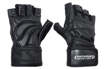 (Large, Black/Black) - Contraband Black Label 5990 Premium Leather Wrist-Lock Gloves w/ Rubber Xtreme Traction Pads