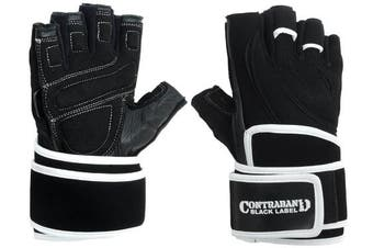 (Large, Black/White) - Contraband Black Label 5710 Classic Wrist-Lock Gloves w/ Quick Release Finger Loops