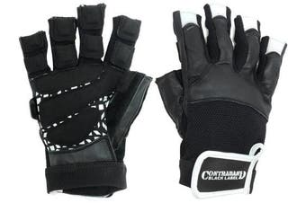 (X-Large, Black/White) - Contraband Black Label 5830 Premium Leather Weight Lifting Gloves w/ Super Grip Pads