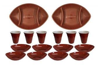 (16 Piece Set) - Set of 16 Piece Plastic Football Shaped Serving Set – 2 Trays, 8 Bowls, 6 Cups (16 Piece Set)