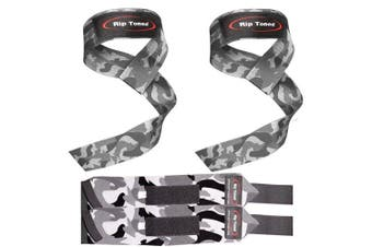 (Gray Camo) - Lifting Straps + Wrist Wraps Bundle (1 PAIR of Each) by Rip TonedBonus Ebook for Weightlifting, Xfit, Workout, Gym, Powerlifting, Bodybuilding - Lifetime Replacement Warranty!