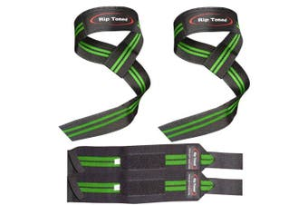 (Green) - Lifting Straps + Wrist Wraps Bundle (1 PAIR of Each) by Rip TonedBonus Ebook for Weightlifting, Xfit, Workout, Gym, Powerlifting, Bodybuilding - Lifetime Replacement Warranty!