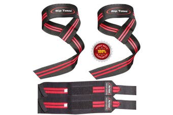(Red) - Lifting Straps + Wrist Wraps Bundle (1 PAIR of Each) by Rip TonedBonus Ebook for Weightlifting, Xfit, Workout, Gym, Powerlifting, Bodybuilding - Lifetime Replacement Warranty!