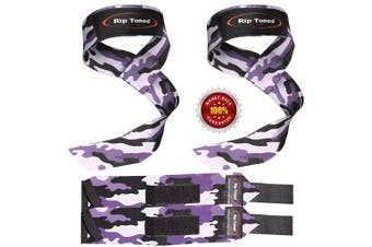 (Purple Camo) - Lifting Straps + Wrist Wraps Bundle (1 PAIR of Each) by Rip TonedBonus Ebook for Weightlifting, Xfit, Workout, Gym, Powerlifting, Bodybuilding - Lifetime Replacement Warranty!