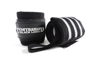 (60cm  Extended Length, 3-Stripe Medium (BLACK/WHITE)) - Contraband Black Label 1001 Weight Lifting Wrist Wraps w/Thumb Loops (Pair) - Competition Grade Wrist Support USPA Approved for Powerlifting, Bodybuilding, Strongman