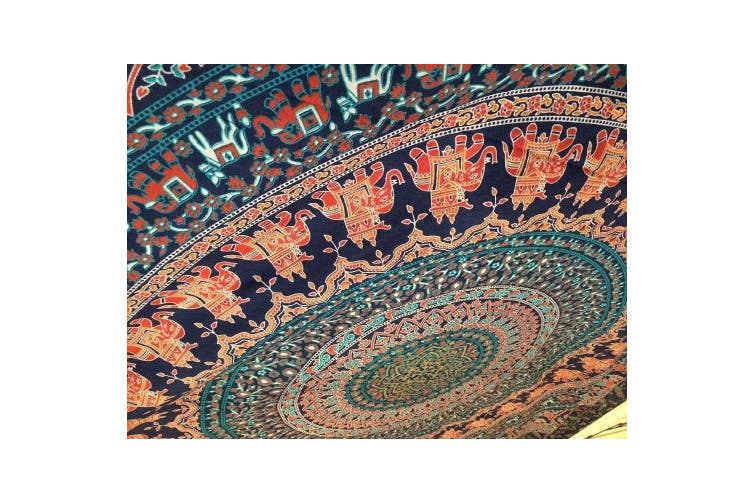 "(230cm  x 270cm  (230x 270)cms, Neavy Blue Tarquish) - Popular Handicrafts Th509 extra large Hippie Mandala Mandala Bedding for Bedroom Bohemian Psychedelic Picnic Blanket Beach Throw Indian Bedspread Magical Thinking tapestry 90""x108""(230x270cms) Blue"