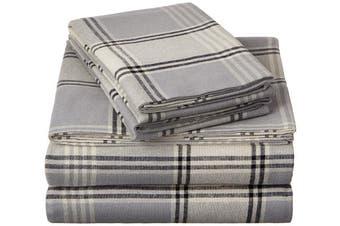 Pinzon Plaid Flannel Sheet Set - Cal King, Grey Plaid
