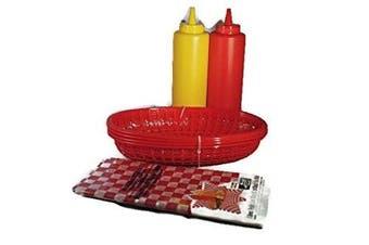 BBQ/Deli Party Serving Bundle: Three Pieces: Set Deli Baskets, Bag of Waxed Basket Liners and Condiment Bottle Set