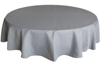 (Round, 180cm , Gray) - ColorBird Elegant Waffle Jacquard Tablecloth Polyester Fabric Water Resistant Spillproof Table Cover for Kitchen Dinning Party Tabletop Decor (Round, 180cm , Grey)