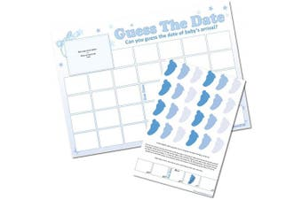 (Blue) - Guess The Date - Baby Shower Sweepstakes Game - (Blue)