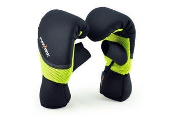 (S/M, Neon Yellow) - MaxxMMA Neoprene Washable Heavy Bag Gloves - Boxing Punching Training
