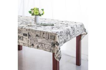 (55 X 71 Inch (140*180CM), Map) - Bringsine Rectangular Cotton Linen World Map Washable Tablecloth Vintage Rectangle Dinner Picnic Table Cloth Home Decoration (Rectangle/Oblong, 140cm x 180cm )