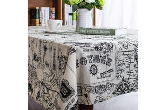 (55 X 55 Inch (140*140CM), Map) - Bringsine Square Cotton Linen World Map Washable Tablecloth Vintage Rectangle Dinner Picnic Table Cloth Home Decoration(Square, 140cm x 140cm )