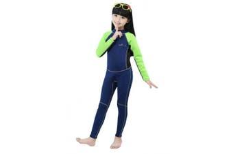 (XL/10 (FOR height 130cm  - 140cm ), Green-2MM-Long) - Neoprene Wetsuit for Kids Boys Girls One Piece Swimsuit