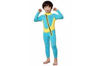 (XL/10 (FOR height 130cm  - 140cm ), Yellow-2.5MM-Long) - Neoprene Wetsuit for Kids Boys Girls One Piece Swimsuit