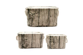 Jacone . Tree Stump Design Rectangular Storage Baskets Cotton Fabric Washable Storage Bins Organisers with Rope Handles, Decorative and Convenient for Kids Rooms - Set of 3