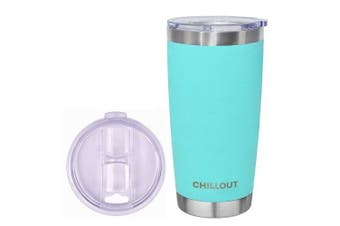 (590ml, Aqua Blue) - 590ml Stainless Steel Tumbler with Splash Proof Sliding Lid - Premium Quality Double Wall Vacuum Insulated Travel Coffee Mug - Blue Cup for Hot & Cold Drinks - Aqua Blue Powder Coated Tumbler 590ml