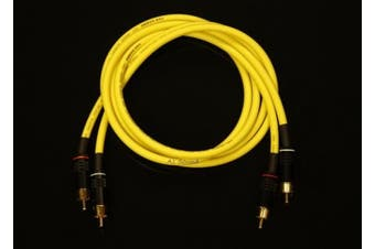 Van Damme Yellow Ultra Analogue Interconnect Pair Cable 1 Metre Length Terminated With High Quality Gold Plated RCA Phono Plugs.