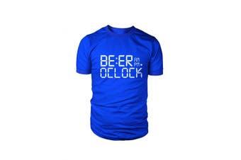 (Royal Blue, Medium) - Funny Beer O'clock T Shirt Mens Dad Farther Christmas Gift Present Novelty t shirt for men