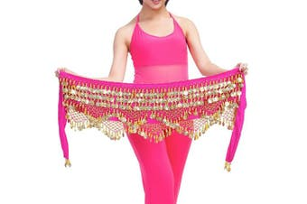 (One size, Pink) - Best Dance Women's Zumba Skirt Bellydance Hip Scarf With Coins Skirts Wrap Noisy