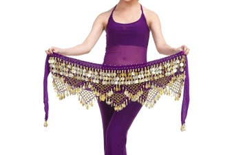 (One size, Purple) - Best Dance Women's Zumba Skirt Bellydance Hip Scarf With Coins Skirts Wrap Noisy