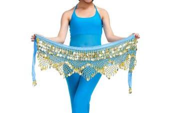 (One size, Light Blue) - Best Dance Women's Zumba Skirt Bellydance Hip Scarf With Coins Skirts Wrap Noisy