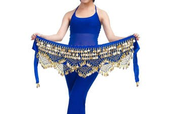 (One size, Dark Blue) - Best Dance Women's Zumba Skirt Bellydance Hip Scarf With Coins Skirts Wrap Noisy