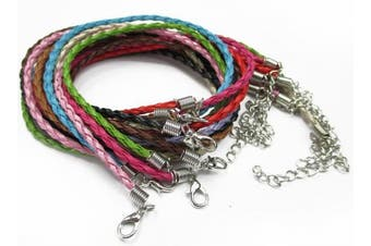 "(MIX 20PCS) - ALL in ONE Mixed Colour Braided Leather Cord Necklace with Lobster Clasp Extended Chain 17""-19"" (MIX 20PCS)"