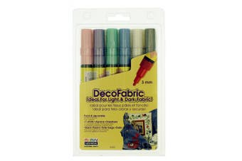 (Pearl Colors) - Uchida 222-6P 6-Piece Pearl Decofabric Marker Set