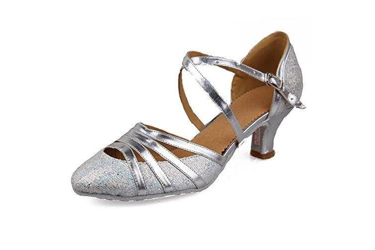 (6 B(M) US, Silver) - Roymall Women's Fashion Ballroom Party Glitter Latin Dance Shoes Model 512-5