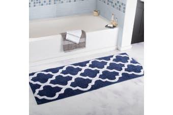 (Navy) - Bedford Home 100% Cotton Trellis Bathroom Mat - 60cm x 150cm - Navy