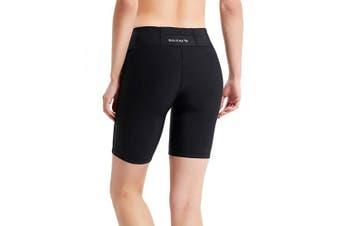 (Medium, Black) - BALEAF Women's 10cm / 18cm Compression Running Shorts Volleyball Workout Shorts Pocket