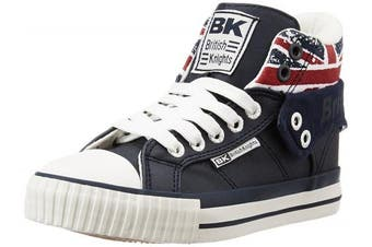(11.5 UK Child, Bleu (navy/union Jack)) - British Knights Kids' Roco Hi-Top Trainers