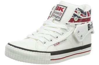 (10.5 UK Child, Blanc (white/union Jack)) - British Knights Kids' Roco Hi-Top Trainers