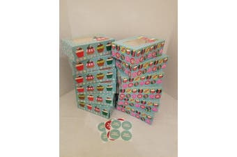 (Red Gingerbread) - Christmas Cookie gift boxes; rectangular with clear window; colourful paperboard with holiday designs; set of 12 with 12 stickers for sealing (Red Gingerbread)