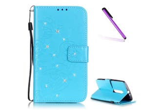 (G Diamond Butterfly 5) - Moto X Play Case,Moto X Play Cover,Moto X Play Wallet Case,EMAXELERS Wallet Flip Case for Motorola Moto X Play,Elegant Bling Butterfly Design PU Leather Flip Protective Diamond Bling Sparkely Crystal Skin Case Cover with Stand