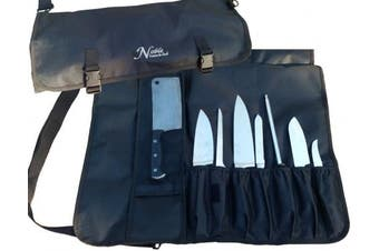 Chef's Knife Roll Bag (14 slots) Holds 10 Knives PLUS a Meat Cleaver AND 3 Tasting Spoons! Our Elite, Durable Knife Carrier Includes Shoulder Strap, Handle, and Business Card Holder.