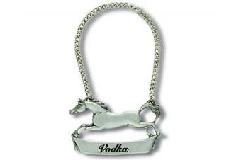 (Vodka) - Vagabond House Pewter Galloping Steed VODKA Decanter Tag/Liquor Bottle Label 7.6cm Wide