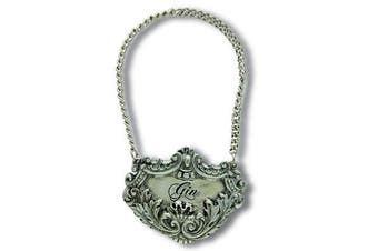 (Gin) - Vagabond House Medici Pewter GIN Decanter Tag/Liquor Bottle Label 6.4cm Wide