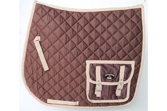 Horse Quilted Aussie Australian ENGLISH SADDLE PAD 2 Pockets Dressage Brown 7268