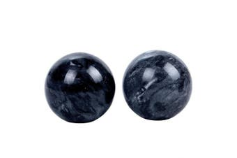 (box-packed-s) - Dark Grey Marble Jade Baoding Chinese Health Stress Exercise Balls In Natural Stone Colour
